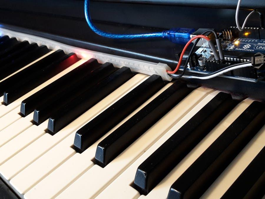 Arduino leds midi keyboard musescore piano tutor
