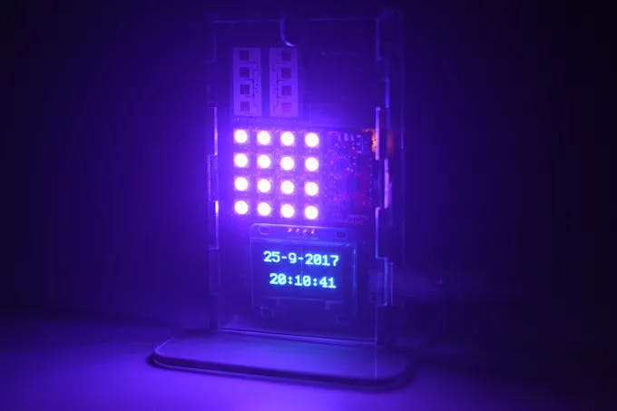 Device showing RGB panel light, Date and Time