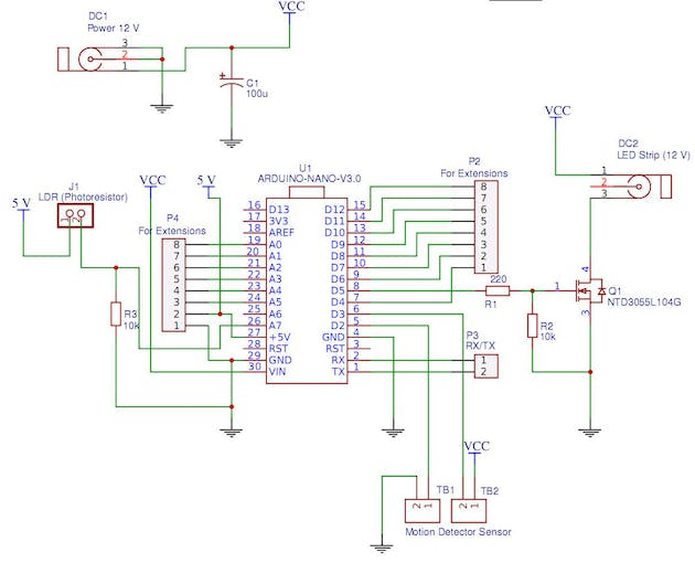 Figure 3.Controller for automatic working area lighting. Schematic diagram (Arduino Version).