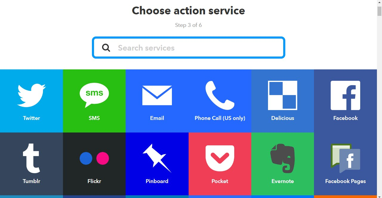 Then select an action service. I chose SMS.