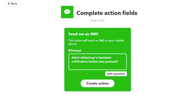 Give any SMS you want to receive once the webhook is triggered