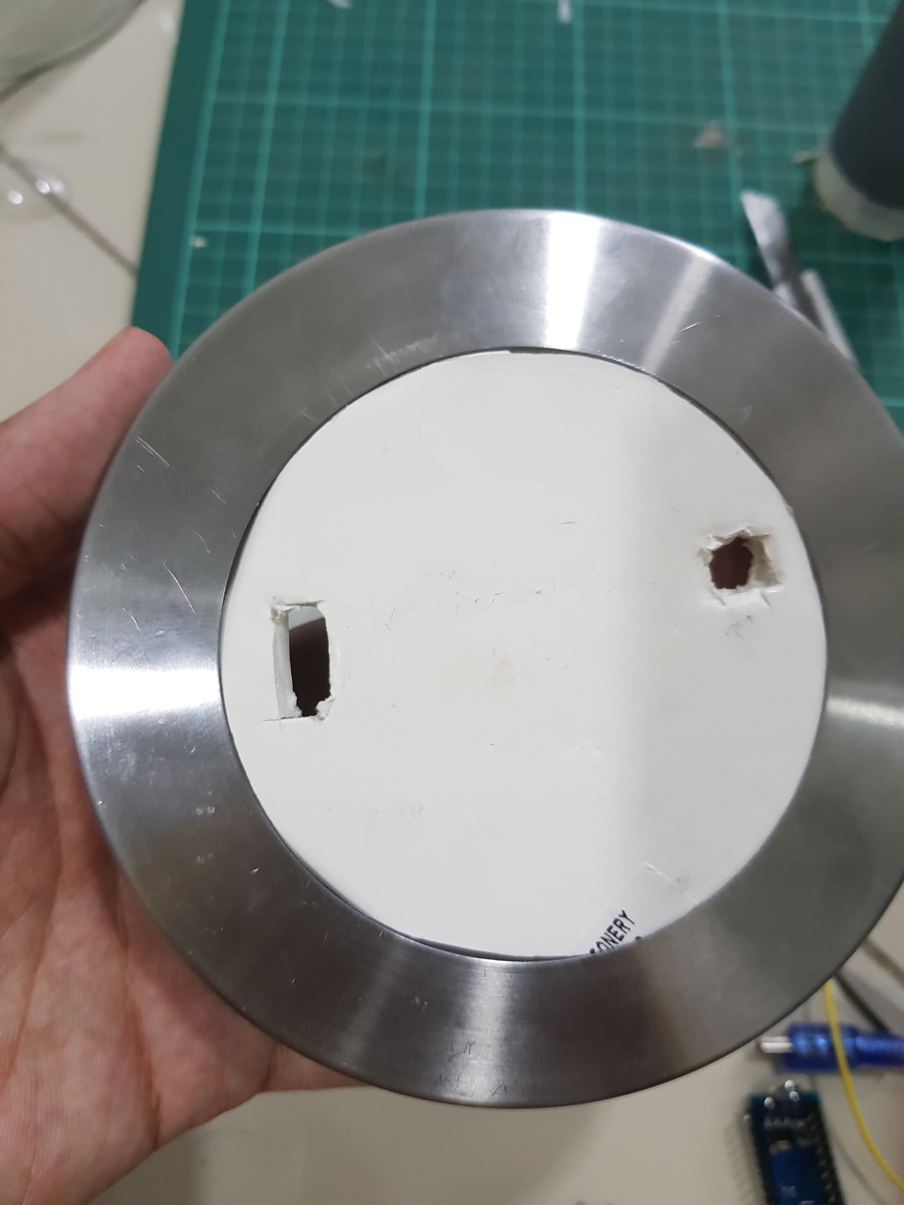 An extra hole for the cable to go through.