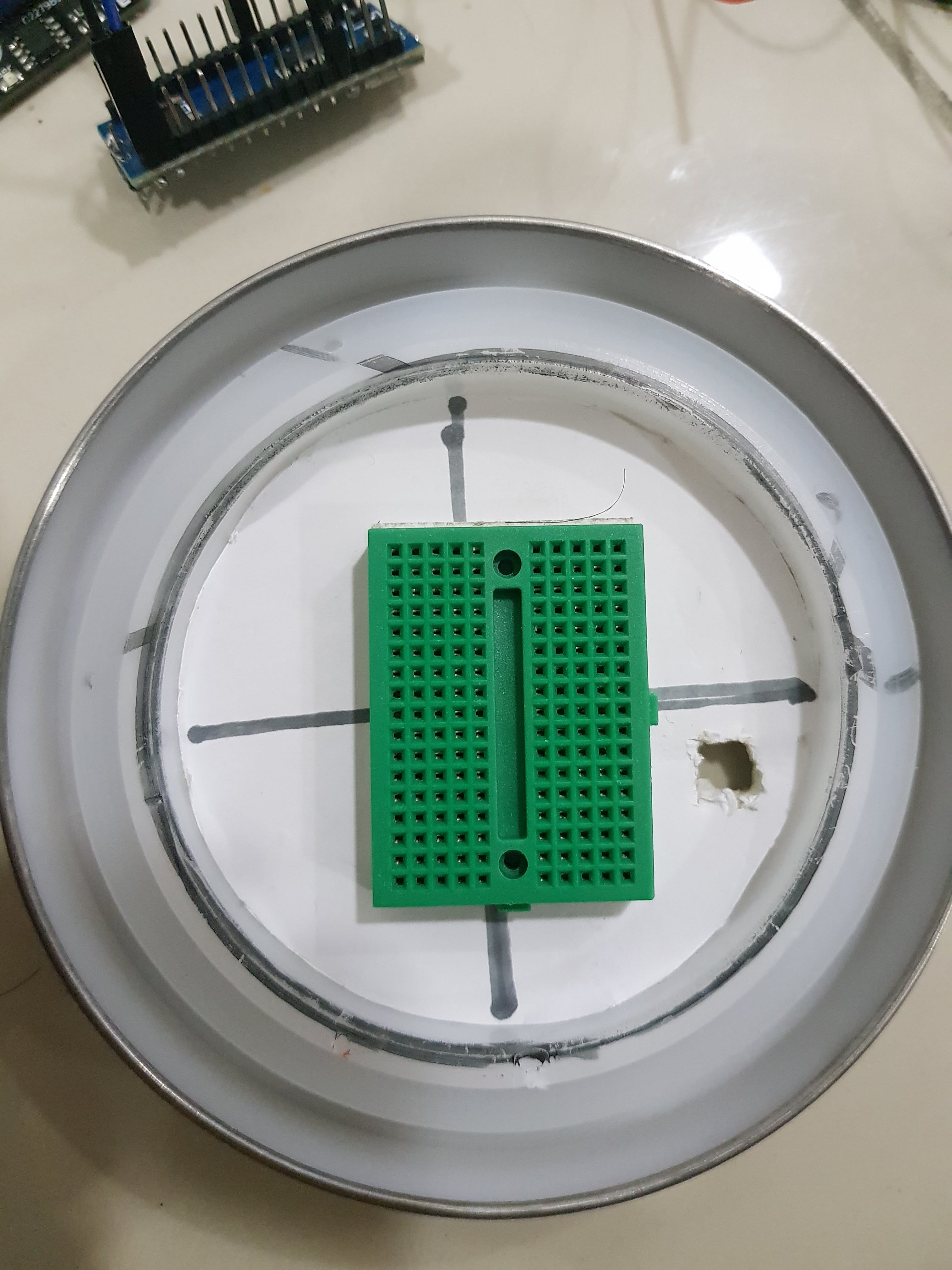 Cutting a hole for the Arduino to connect
