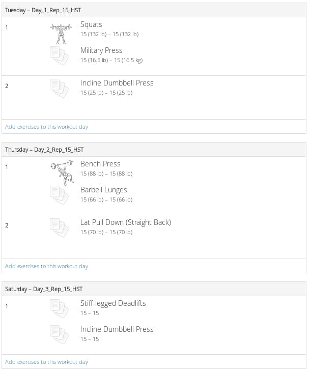 wger workout preview.