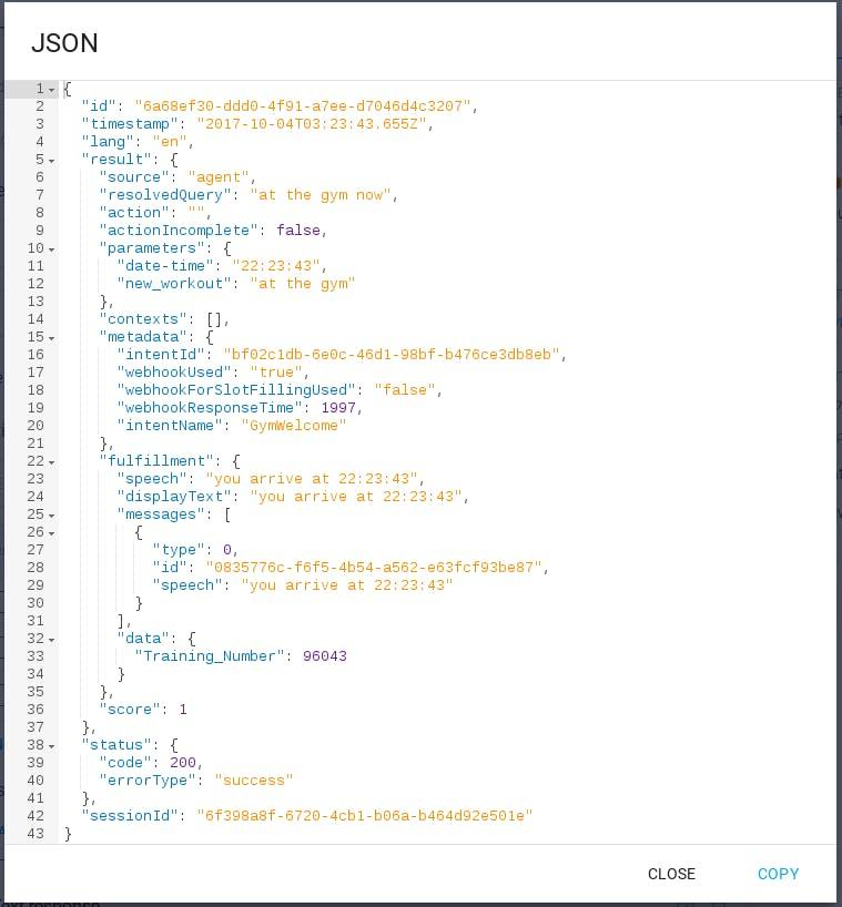 GymWelcome JSON response