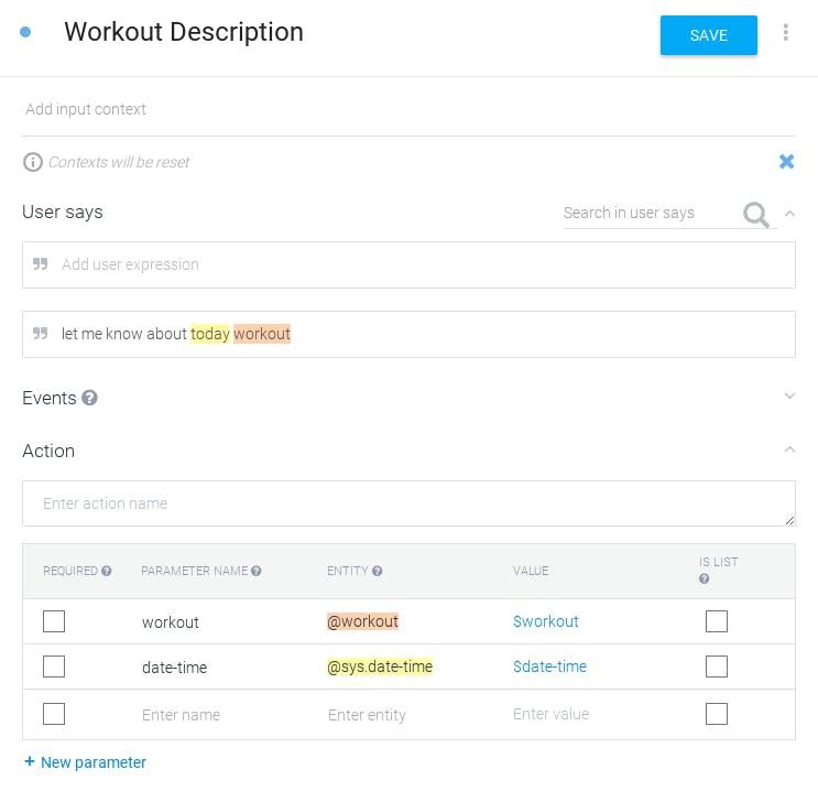 Workout Description Intent