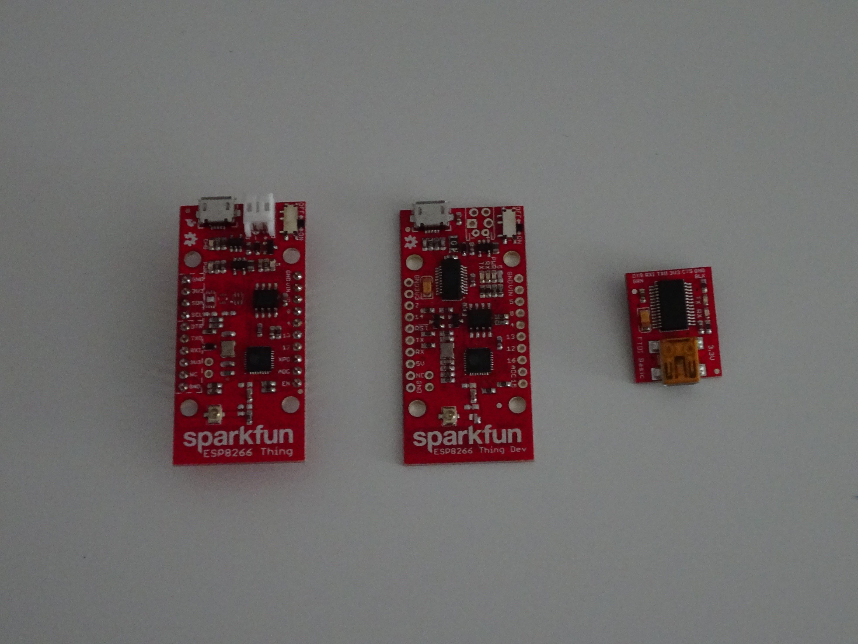 ESP8266 Thing, ESP8266 Thing Dev, FTDI Basic 3.3V