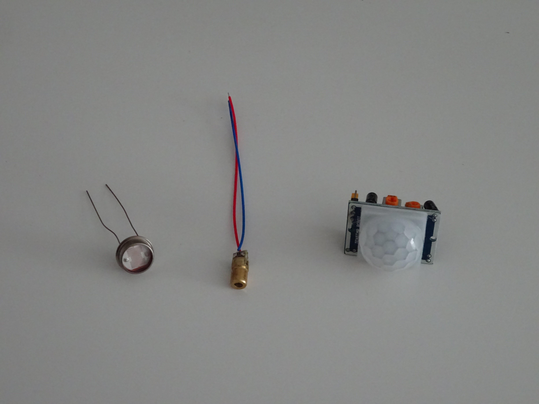CDS photocell, 5mW laser, PIR detector