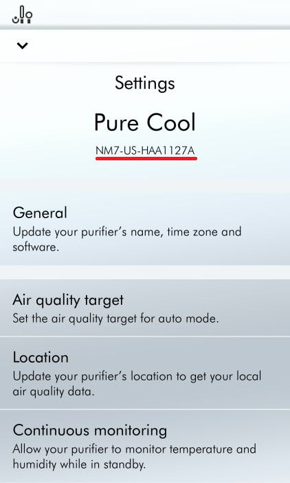 Serial number under mobile application settings section