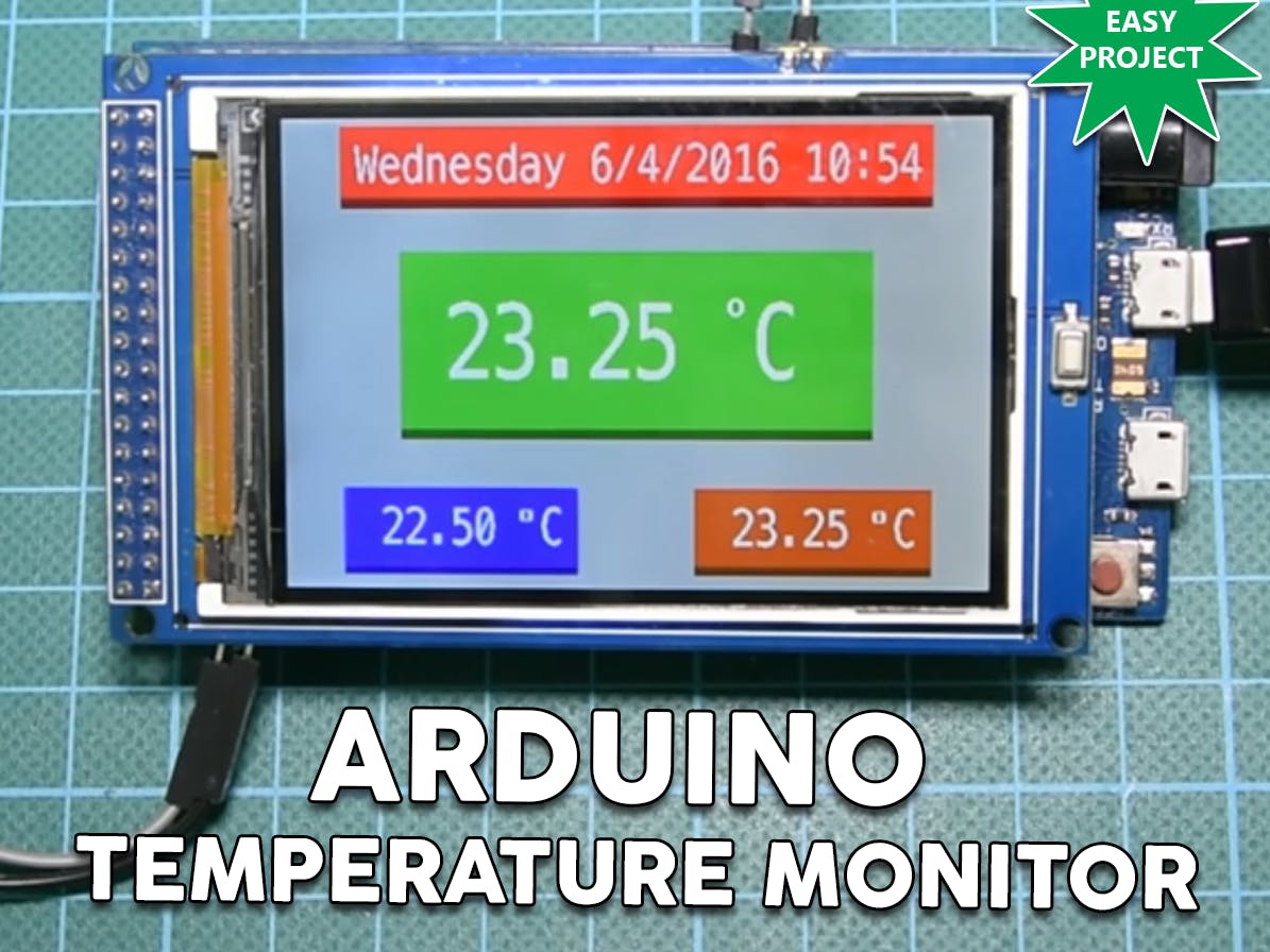 """Arduino Temp. Monitor And Real Time Clock With 3.2"""" Display"""