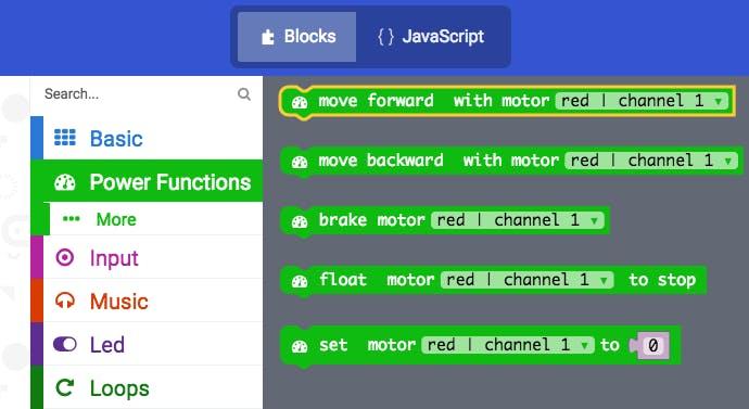 Power Functions blocks in MakeCode