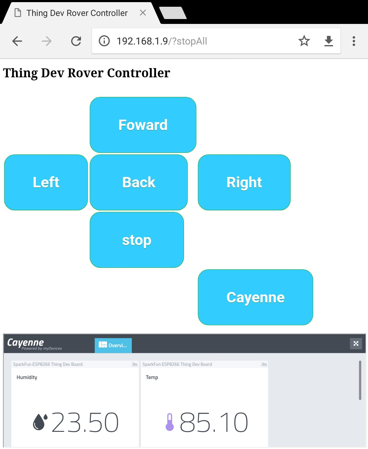 Web Application to Control the Rover