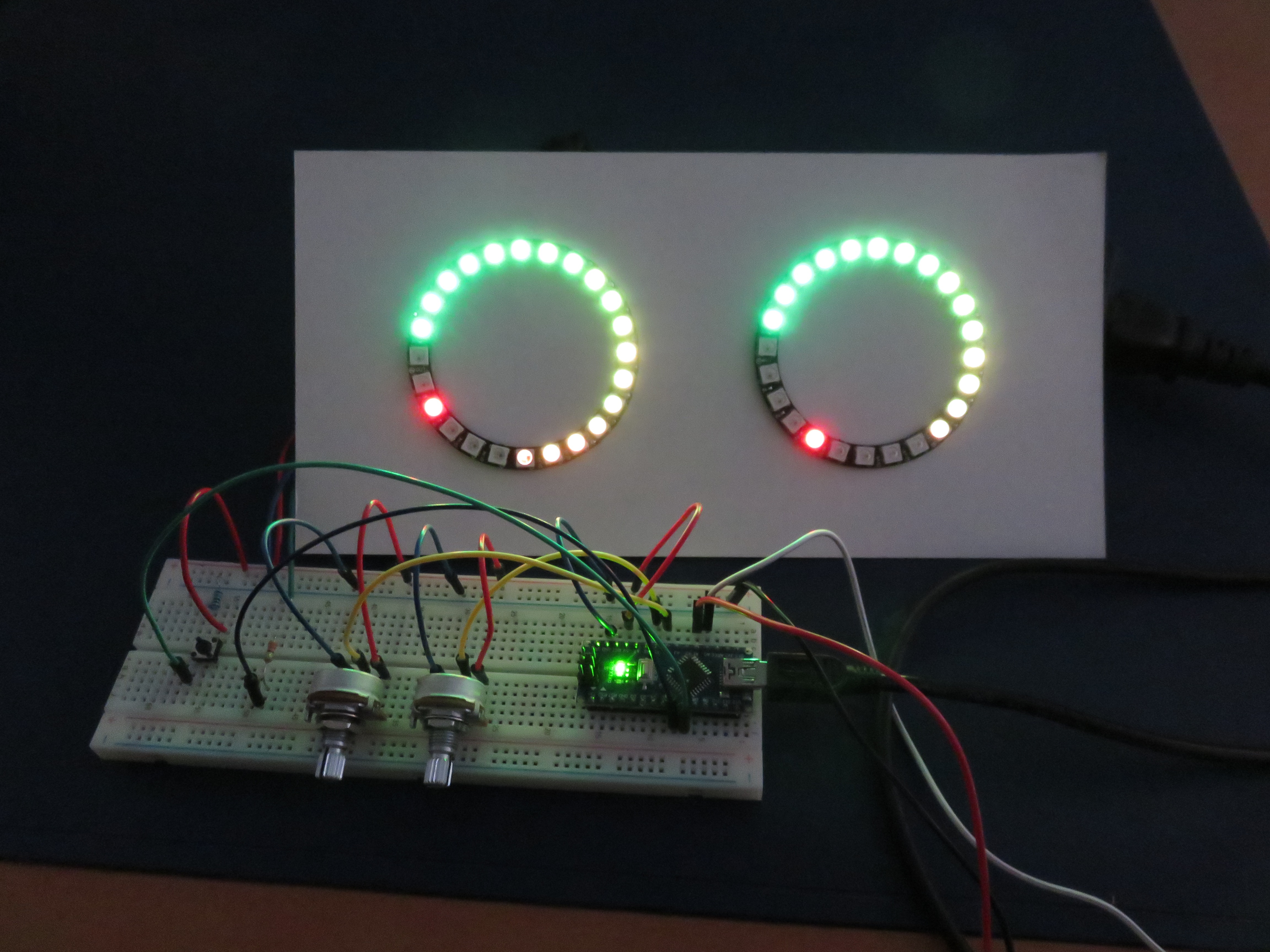 Perfect A Stereo VU Meter Built With An Arduino Nano And Two NeoPixel LED Rings.