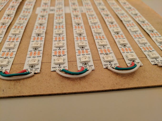 Connecting each row of the WS2812B strip