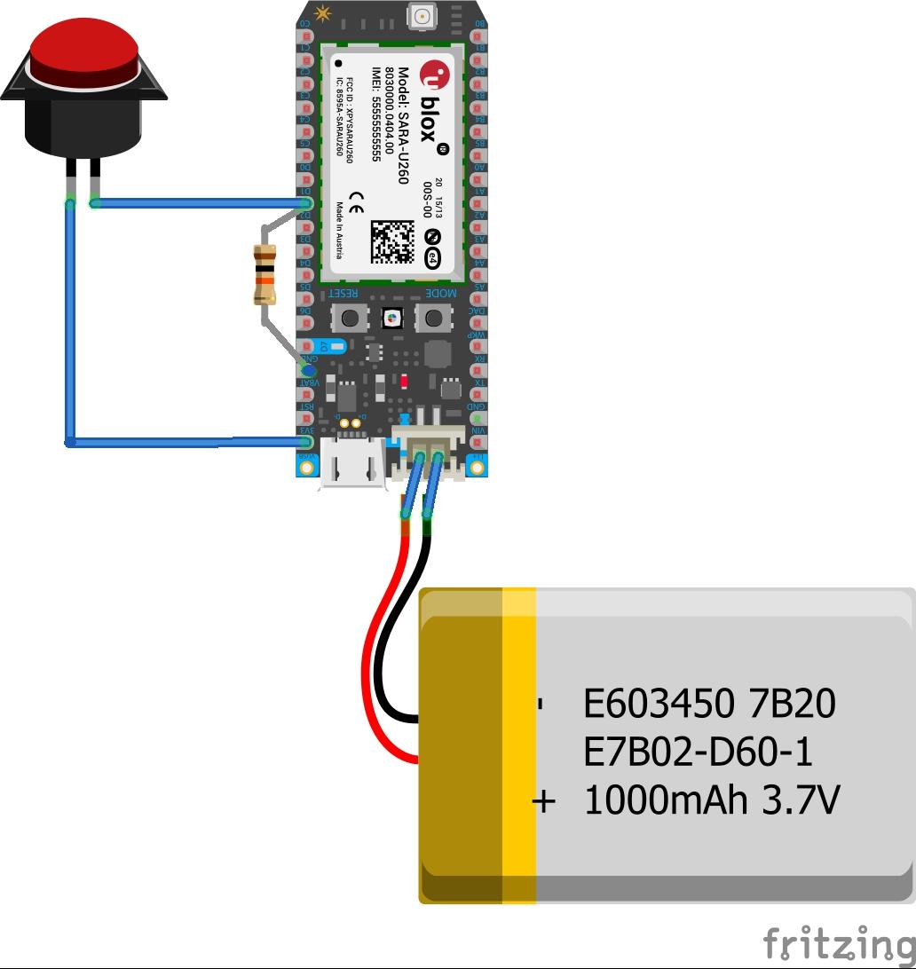 Emergency button sketch steckplatine jkddmvly5e