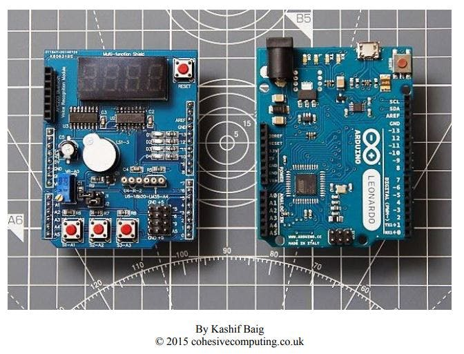 Multi Function Shields (left) & Arduino (right)