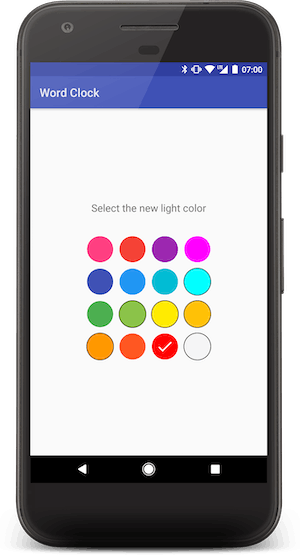The Android companion app allow the user to change the LEDs color