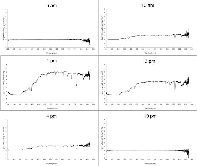 Snap shots of spectrophotometer data recorded in Bristol over a 24 hour period