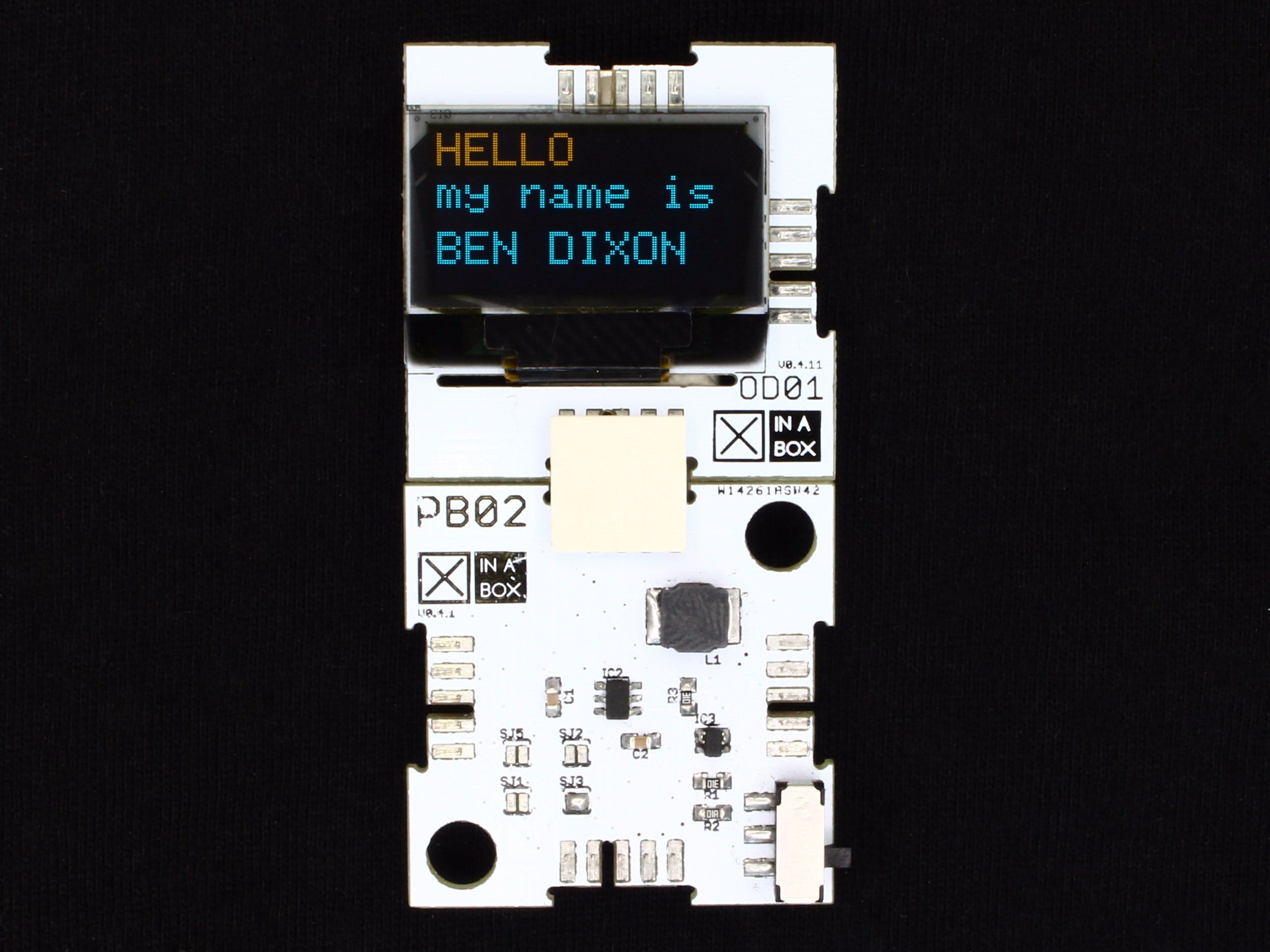 OLED Name Tag using XinaBox and Arduino