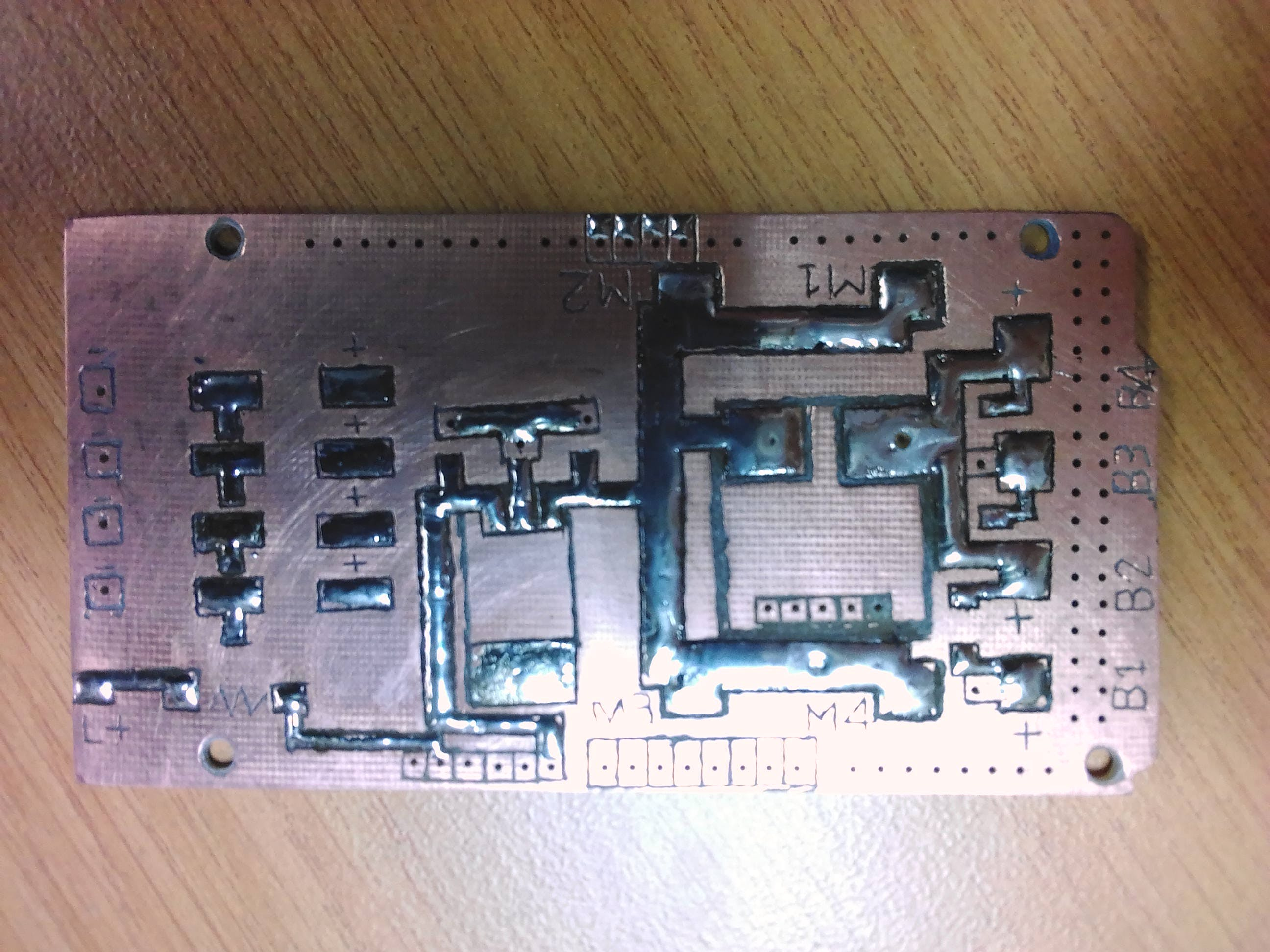 Top side of power distribution board