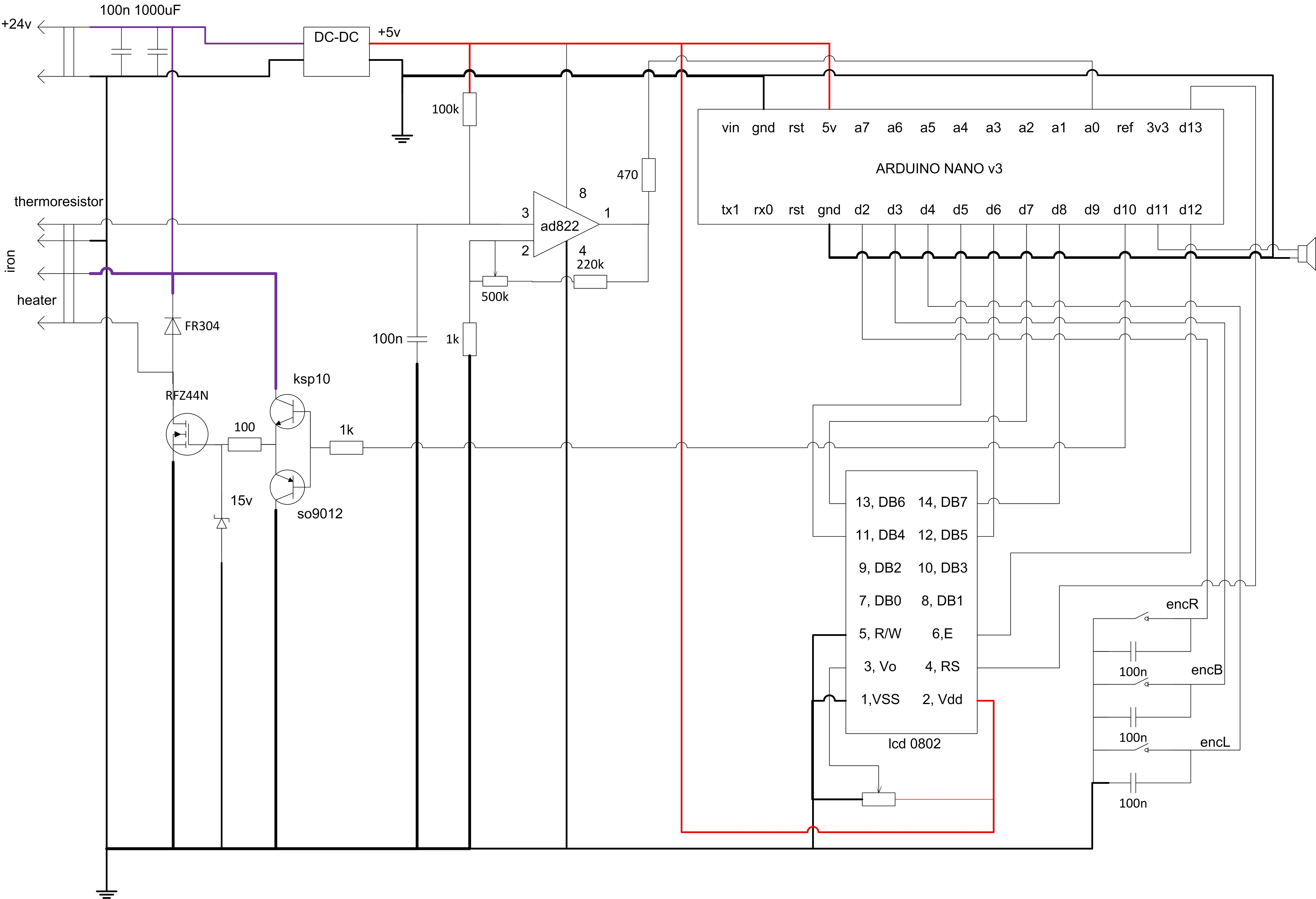 The complete controller schematics for thermistor sensor