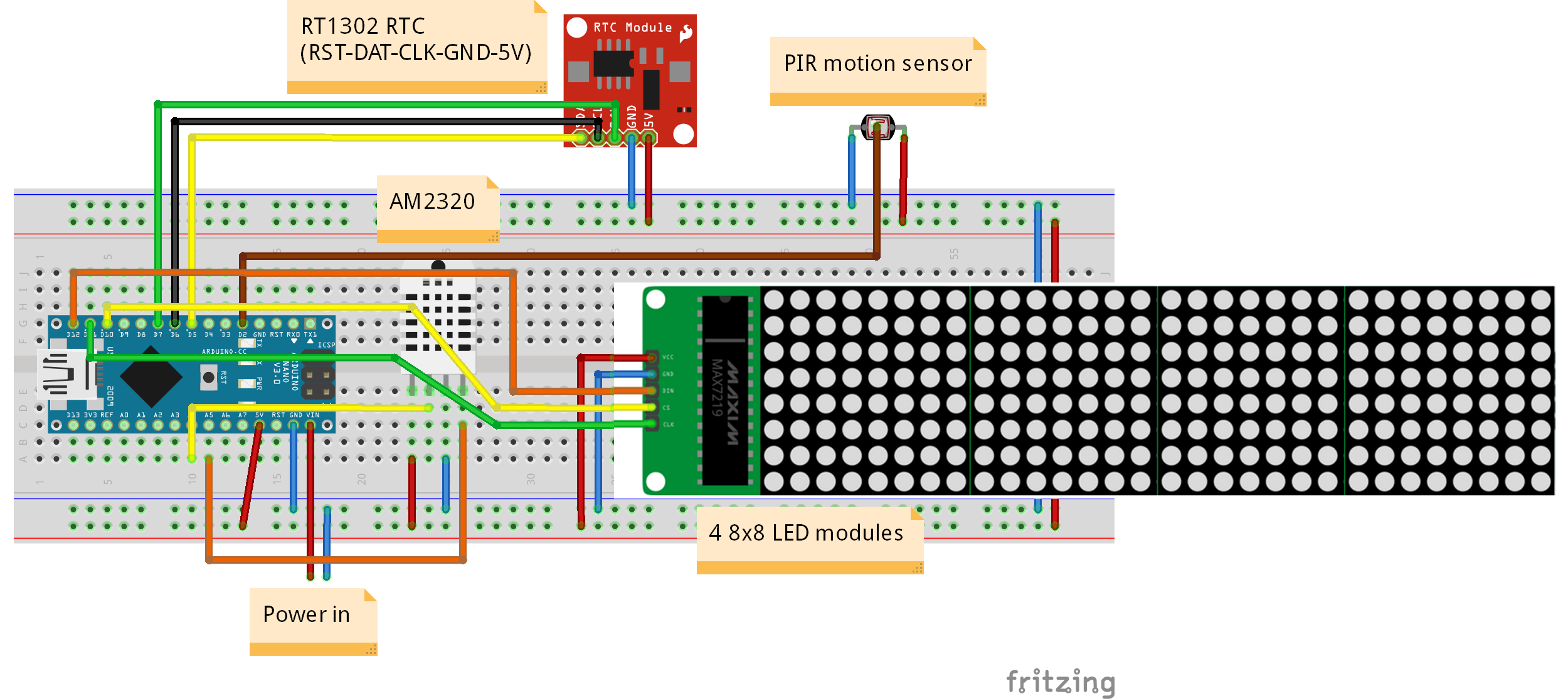 Led Running Message Display Circuit Diagram | Arduino 32x8 Led Matrix Info Display Hackster Io