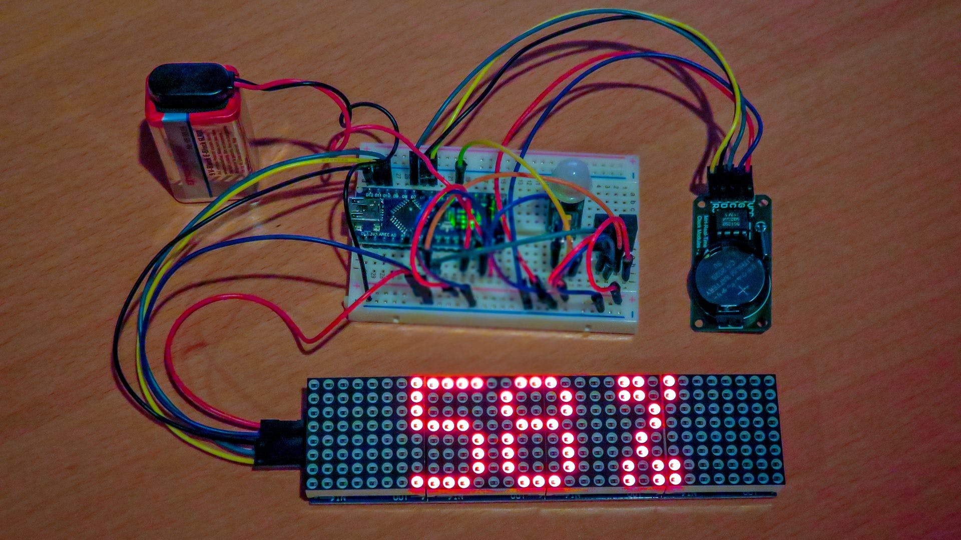 Arduino 32x8 LED matrix test setup