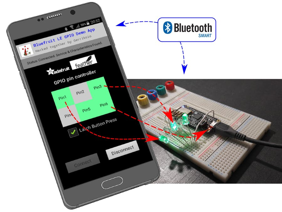 BLE GP-O Controller | MIT App Inv + Feather M0 Bluefruit LE