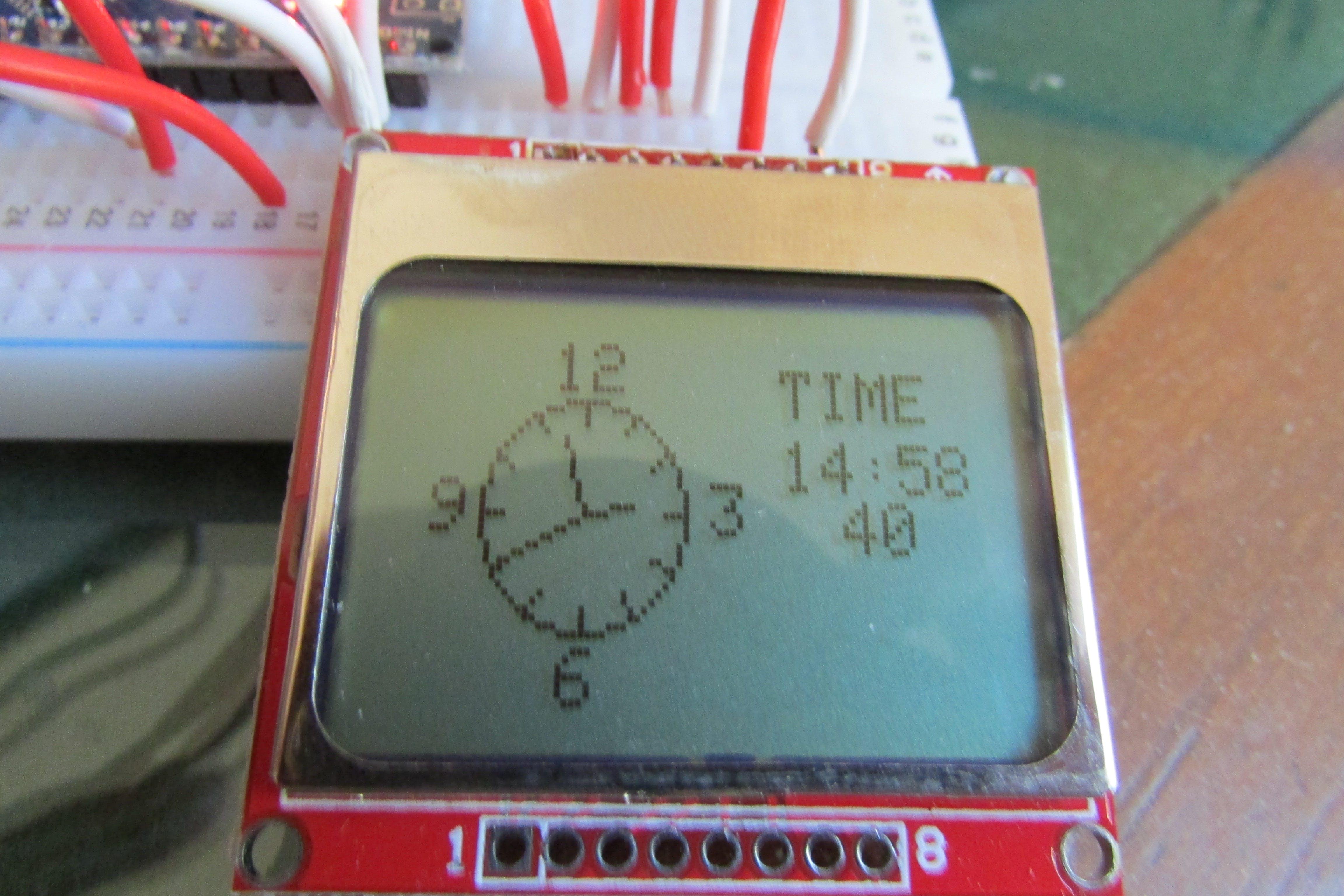 Arduino Analog/Digital Clock with Nokia 5110