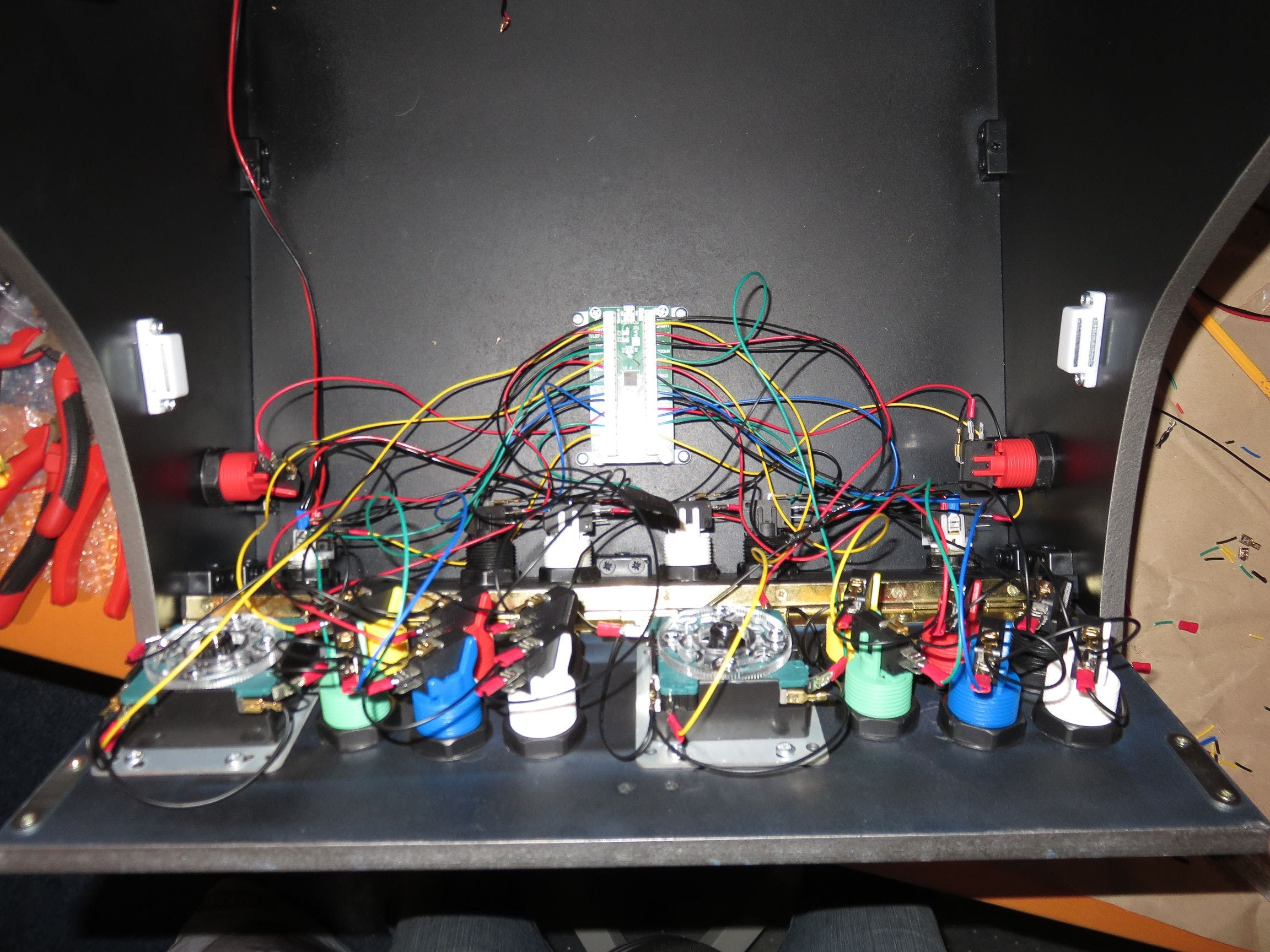 installing and connecting the joysticks and buttons