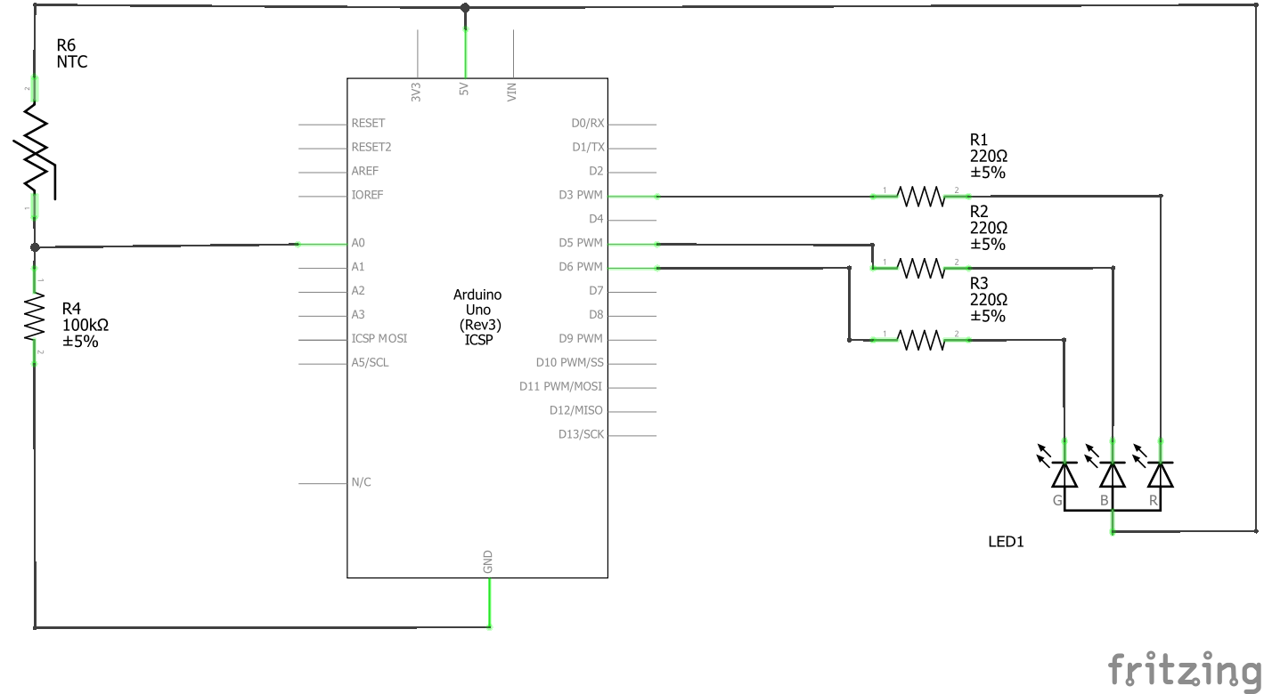 One Pixel Thermometer Digital Circuit Diagram Schematic