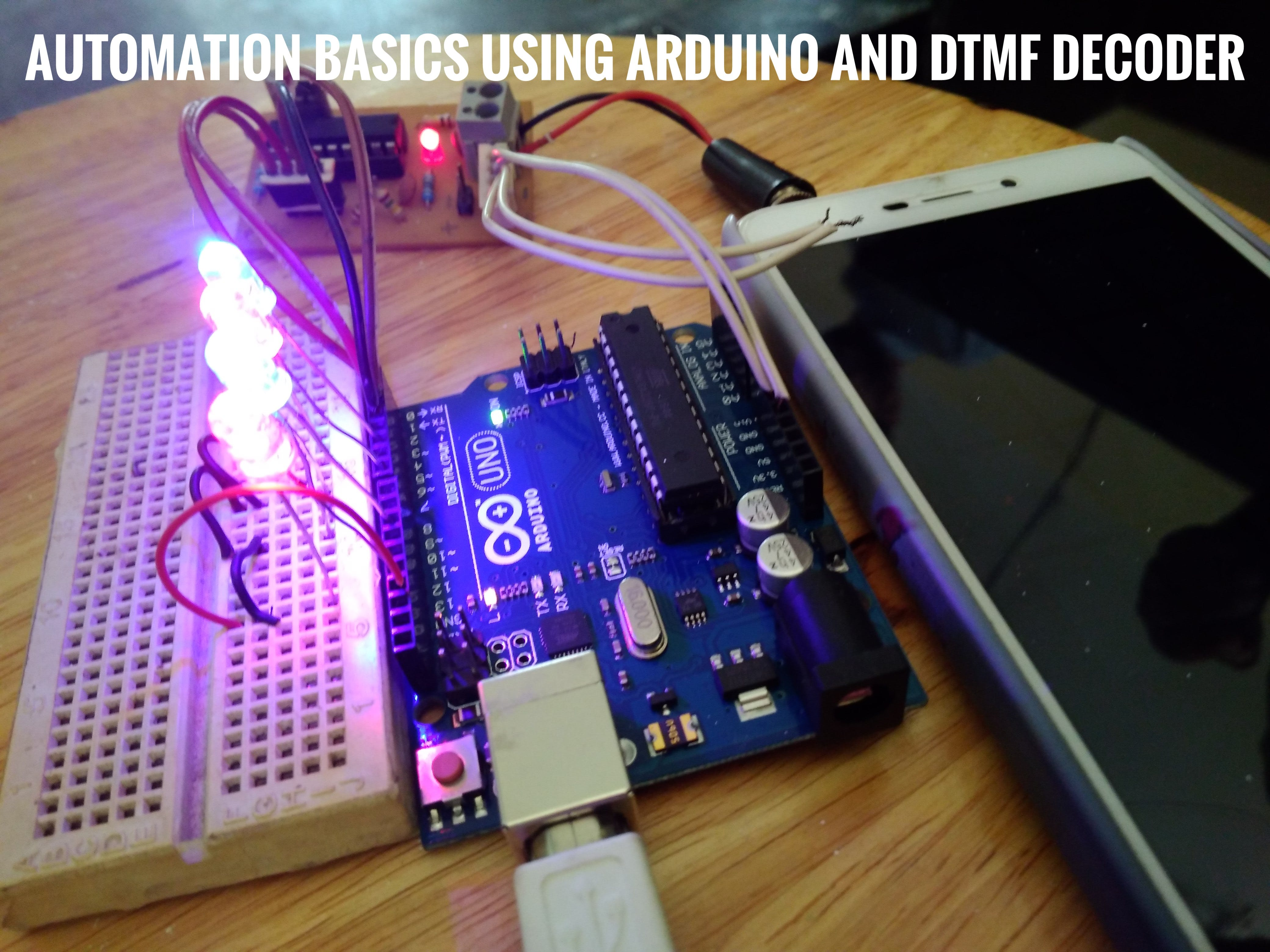 Automation basics using arduino and DTMF decoder