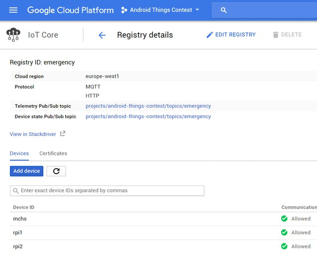 Google Cloud IoT Core configuration