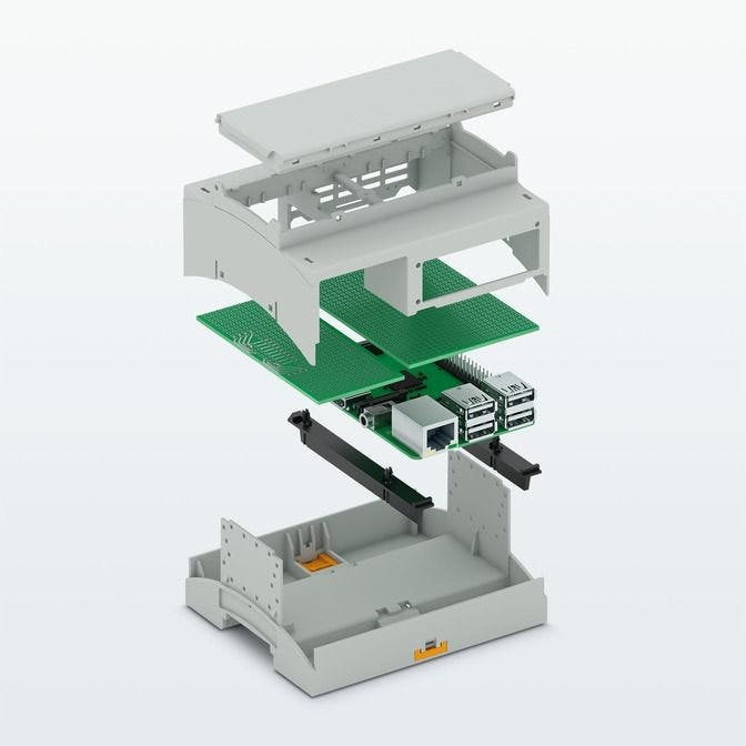 Specific DIN rail housing for Raspberry Pi computers