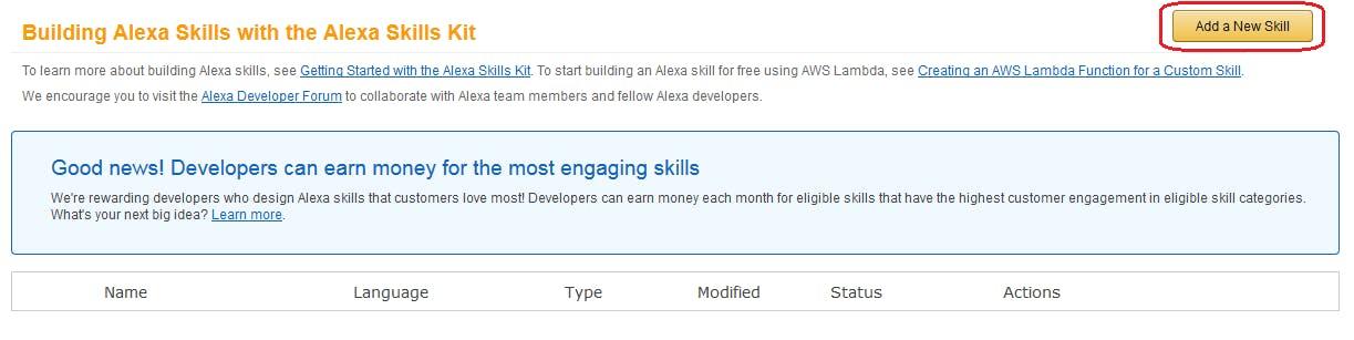Figure 4. Amazon developer Portal. Add a New Skill