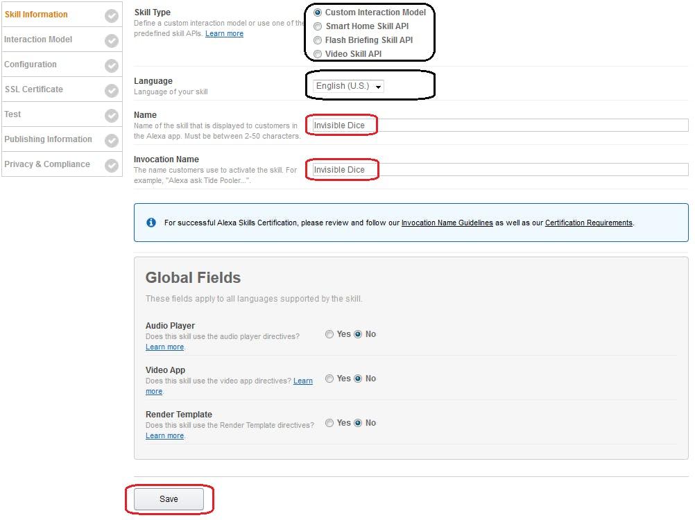 Figure 5. Amazon Developer Portal. Fill Skill Information