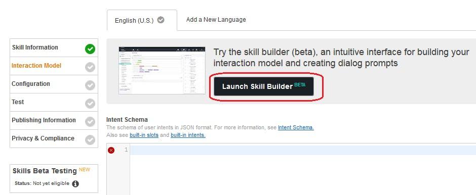 Figure 6. Amazon Developer Portal. Voice User Interface. Launch Skill Builder