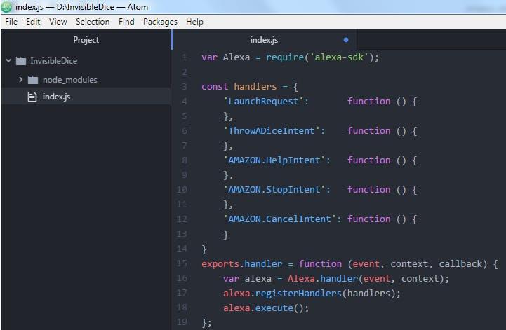 Figure 14. Atom editor. Alexa custom skill code template