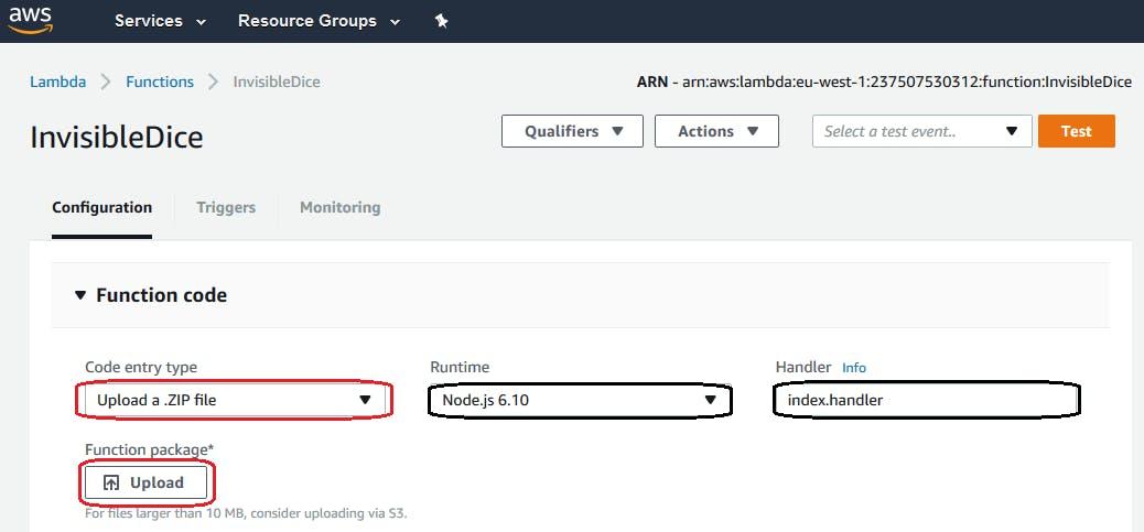 Figure 23. AWS Platform. Lambda Function. Upload code ( zip file )
