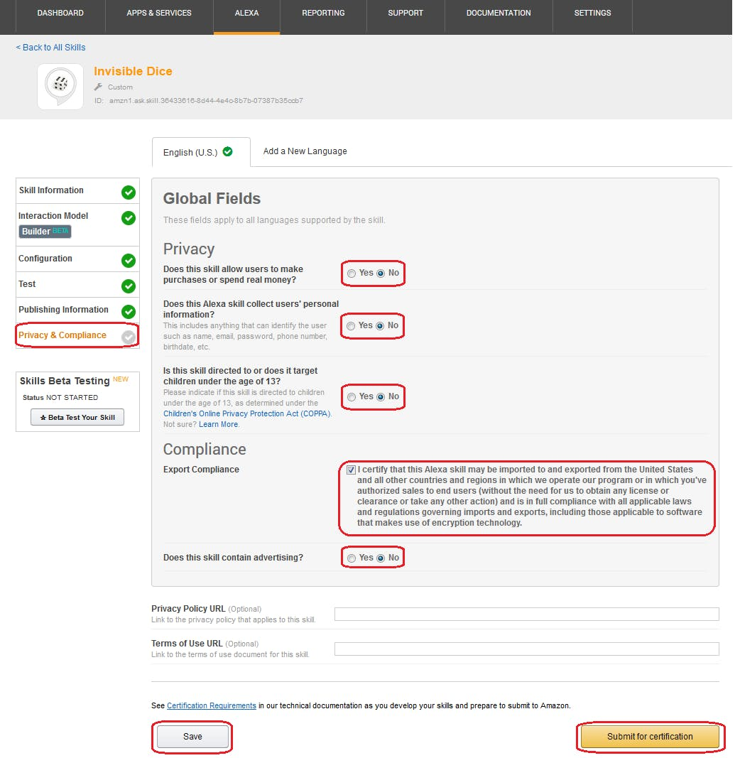 Figure 42 Amazon Developer Portal. Privacy & Compliance. Complete global fields