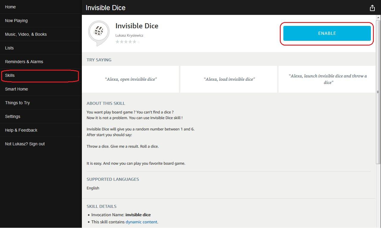Figure 44. Amazon Alexa web configurator. Add Invisible Dice skill into your account