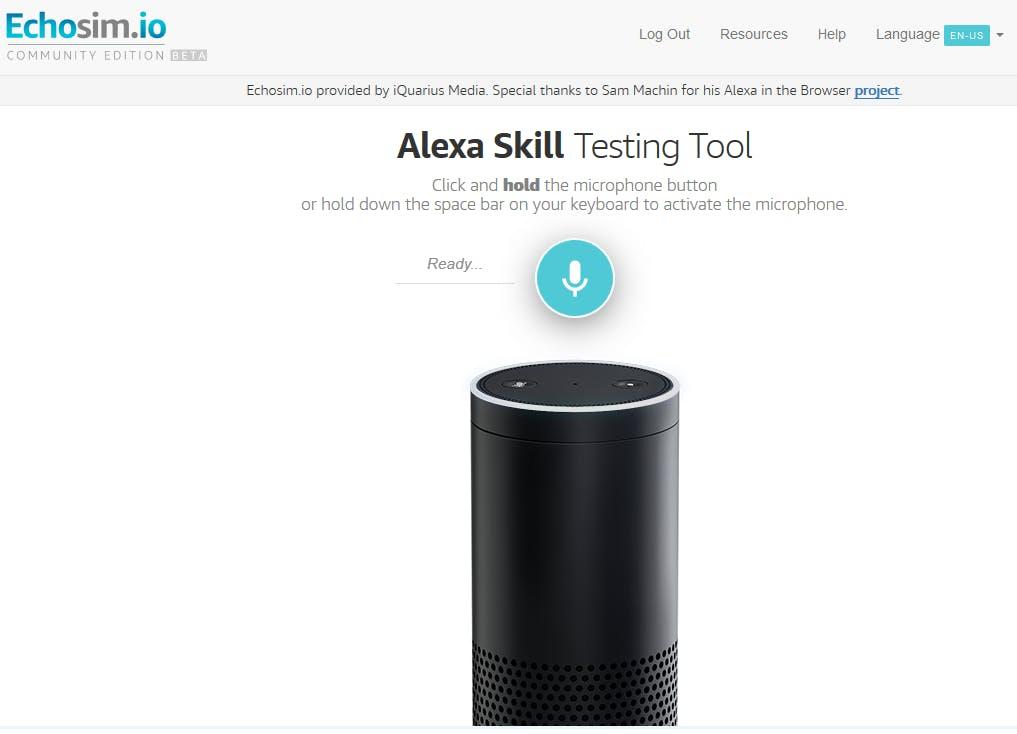 Figure 45. Amazon Alexa Testing Tool. Echosim.io
