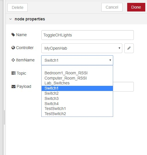 Items show up in the dropdown