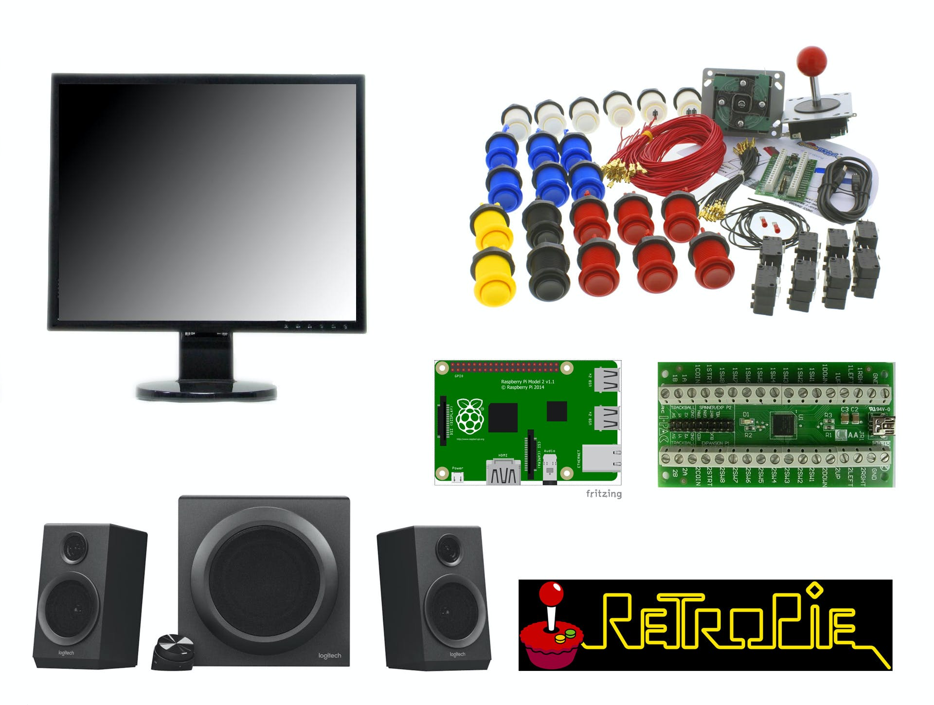 The main parts needed for the arcade cabinet