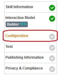 Figure 26 Amazon Developer Portal. Open configuration tab