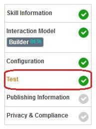Figure 32 Amazon Developer Portal. Open Test tab