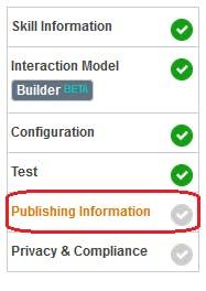 Figure 34 Amazon Developer Portal. Open Publishing Information tab