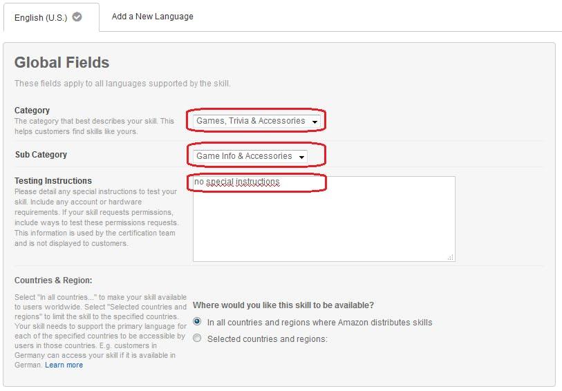 Figure 35 Amazon Developer Portal. Publishing Information. Complete global fields