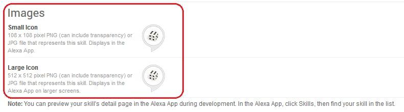 Figure 39 Amazon Developer Portal. Publishing Information.  Upload skill icons