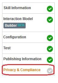 Figure 41 Amazon Developer Portal. Privacy & Compliance tab